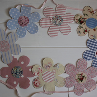 Pastel floral garland bunting - created from recycled fabrics