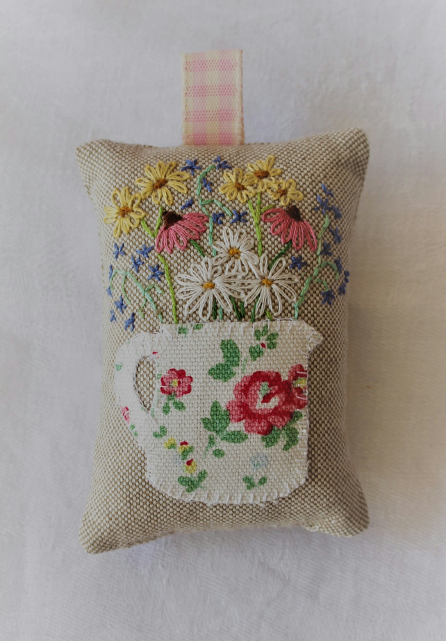 Hanging lavender bag with Cath Kidston jug design and hand-embroidered flowers