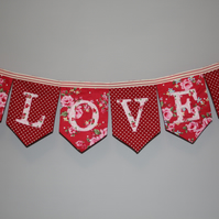 Red floral and polka dot 'LOVE' personalised bunting