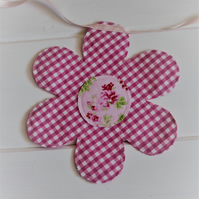 Pink and purple floral garland bunting - made from recycled fabrics