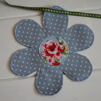 Blue floral garland bunting - created from recycled fabrics