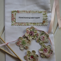 Pastel floral cake topper bunting - handmade from recycled fabrics