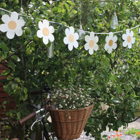 Daisy garland bunting - created from recycled fabrics