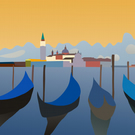 4 gondolas (on canvas)