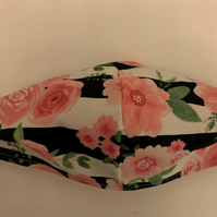 Face Mask - Blk Stripe Pink Floral