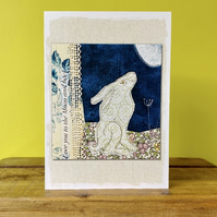 3 Blank Moon Gazing Hare Greetings Cards
