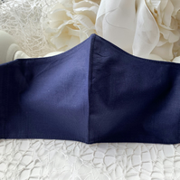 Navy Blue Fabric Face Mask with filter pocket, Washable, Reusable