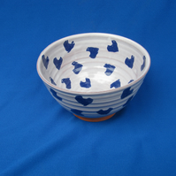 Small Bowl, Random Blue Small Hearts design   8