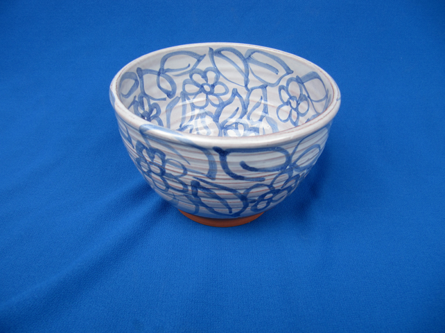 2 Small Bowls, blue hand-drawn flowers and leaves      30