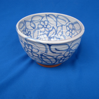 Small Bowl, blue hand-drawn flowers and leaves