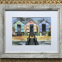 Hengistbury head beach huts ,collage ,paper wall art ,hand crafted wall art