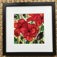 Red poppy painting, flowers,original ink art, floral wall art, ink painting
