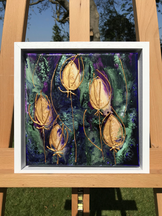 Thistles mixed media painting in floating frame