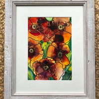 Pansy flower ink painting -framed