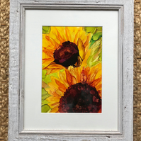 Sunflower ink painting