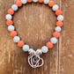 HANDMADE BLUE ARAGONITE AND CORAL BRACELET WITH STERLING SILVER EMBELLISHMENTS