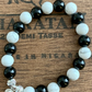 STRETCHY ALERT-HOWLITE AND ONYX WITH 925 STERLING SILVER EMBELLISHMENTS