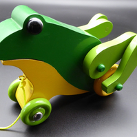 Pull-Along Wooden Toy Frog