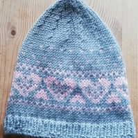 Pattern Heart Fair Isle Pixie Baby Hat