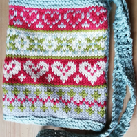 Heart Fair Isle Cotton Shoulder Bag