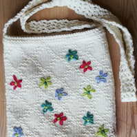 Daisy Hand Knitted Shoulder Bag with Hand Embroidered Daisys