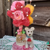 Pin Cushion, teddy and flowers, needlefelted needle felted, repurposed, quirky