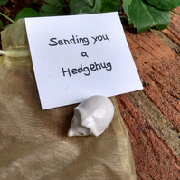 Keepsake sentimental ceramic hedgehog figure - Sending you a hedgehug