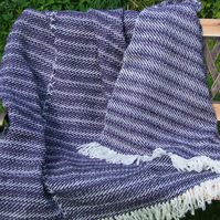 Purple & White Wool Blanket Throw