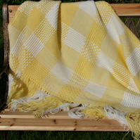 Yellow & White Acrylic Blanket or Throw