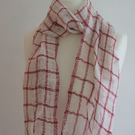 Linen and Cotton Scarf in Red and White