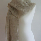 Open Weave Natural Oatmeal Linen and Cotton Shawl