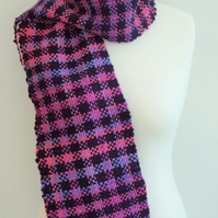 Purple & Pink Aran- weight  Wool Scarf