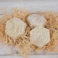 shea butter and olive oil honey and oats bee happy soap bar in honeycomb shape