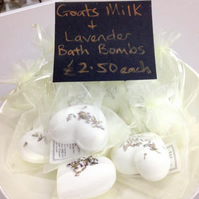 Luxury Lavender and Goat's milk heart shaped bath bombs