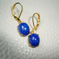 Vintage oval lapis lazuli domed glass earrings