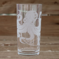 Octopus Drinking Glass (Hand Engraved)