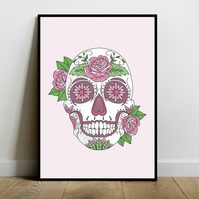 Pink Sugar Skull Art Pint (A4)