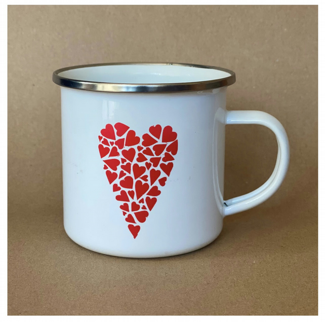 Heart of Heart Enamel Mug. Red or Black