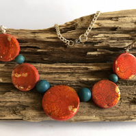 Red & Turquoise Necklace & Earring Set