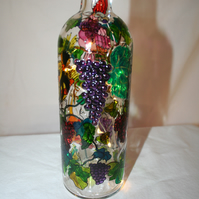 Birds and Grapes - Handpainted Bottle Light