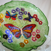 Butterflies on Green - Handpainted Suncatcher with Stand