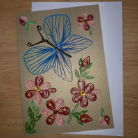 Blue Butterfly Quilled Card A6