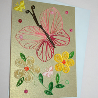 Pink Butterfly Quilled Card A6