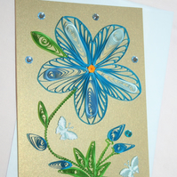 Gentian Quilled Card A6