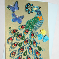 Peacock Quilled Card A6