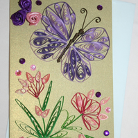 Purple Butterfly Quilled Card A6