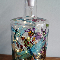 Lakeside with Dragonflies - Handpainted Bottle Light
