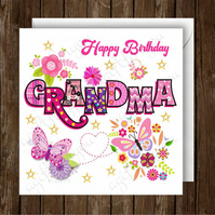 Happy Birthday Grandma Greeting Card. Blank Inside