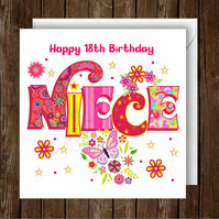 Personalised Niece Happy Birthday Greeting Card. Blank inside.  ADD ANY AGE