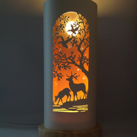 Deer Tree Engraved Table Lamp